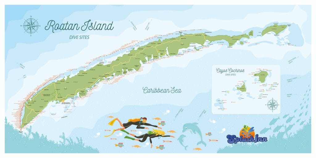 Roatan Dive Sites Map